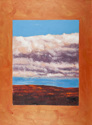 Oil painting on canvas of the clouds over a mountain ridge in Leominster, Massachusetts, glued to a painted canvas (thumbnail)