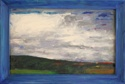 Oil painting on board with painted wooden frame of clouds and landscape near La Feuillade in south-central France (thumbnail)