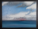Oil painting on canvas of the ocean, sky and clouds at Normandy, France (thumbnail)