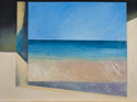 Oil painting on linen of the ocean, land and sky at Normandy, France, as viewed through a blockhouse window (thumbnail)