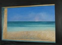 Oil painting on canvas of the ocean, sky and beach at Normandy, France, as viewed through a blockhouse window (thumbnail)