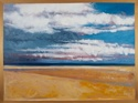 Oil paintng on canvas with painted gold border of the ocean, clouds and beach at Normandy, France (thumbnail)