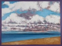 Oil painting on canvas of the ocean, clouds and beach at Normandy, France (thumbnail)