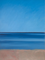 Oil painting on canvas of sky over the ocean and beach at Normandy, France (thumbnail)