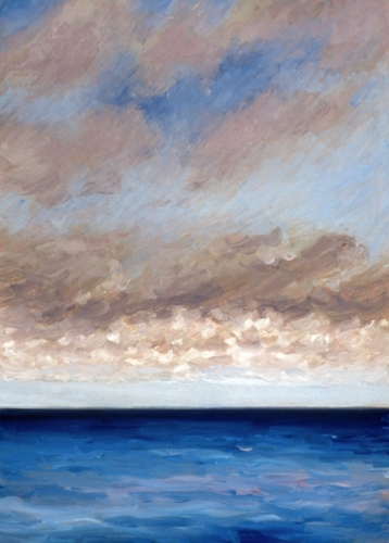 Oil painting on paper of clouds over the ocean at Normandy, France (large view)