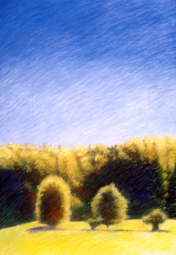 Oil pastels on paper of landscape near La Feuillade in south-central France  (large view)