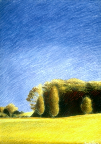 Oil pastels on paper of landscape near La Feuillade in south-central France
