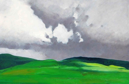 Oil painting on canvas of clouds over the Cantal Mountains in south-central France (large view)