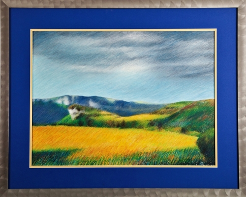 Oil pastel on water color paper (matted and framed behind glass) of the landscape near Le Prat in south-central France<br/><br/>Price includes frame.as shown (large view)