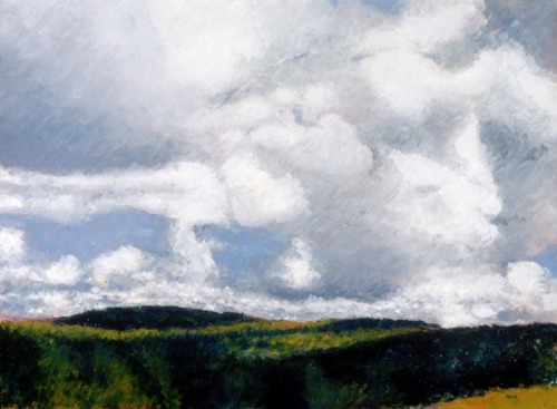 Oil painting on paper mounted on board of clouds over the rolling hills of upstate New York (large view)