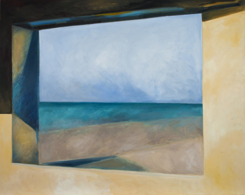 Ocean, Land, Sky through Blockhouse Window in Normandy (Cat. No. 330) by merrilee drakulich contemporary paintings