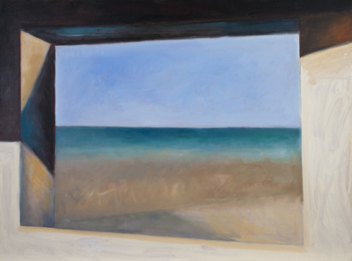 Oil painting on canvas of the ocean, sky and beach at Normandy, France, as viewed through a blockhouse window (large view)