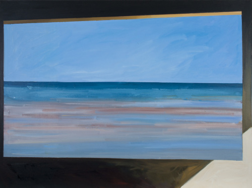 Oil painting on canvas of the ocean and sky at Normandy, France, as viewed through a blockhouse window (large view)