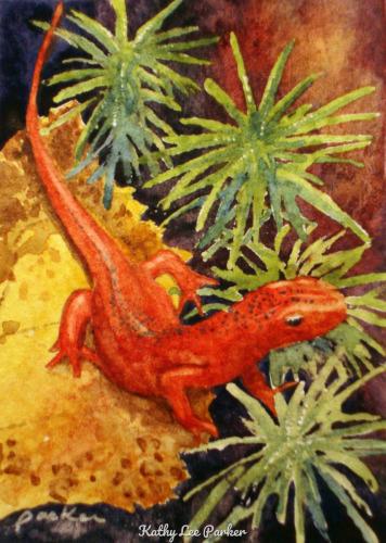 Salamander ATC by Kathy Lee Parker Fine Art