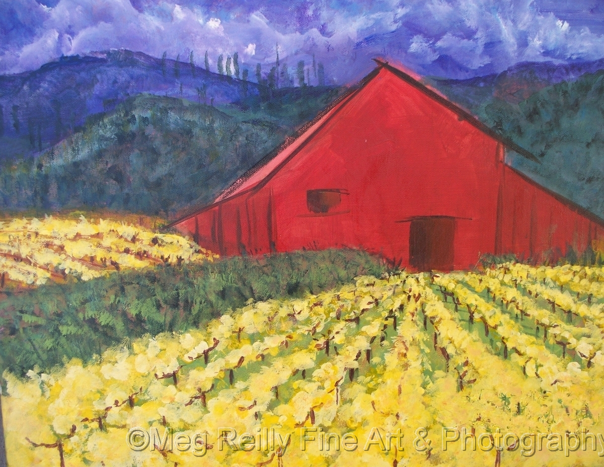 Red Barn in Mustards (large view)