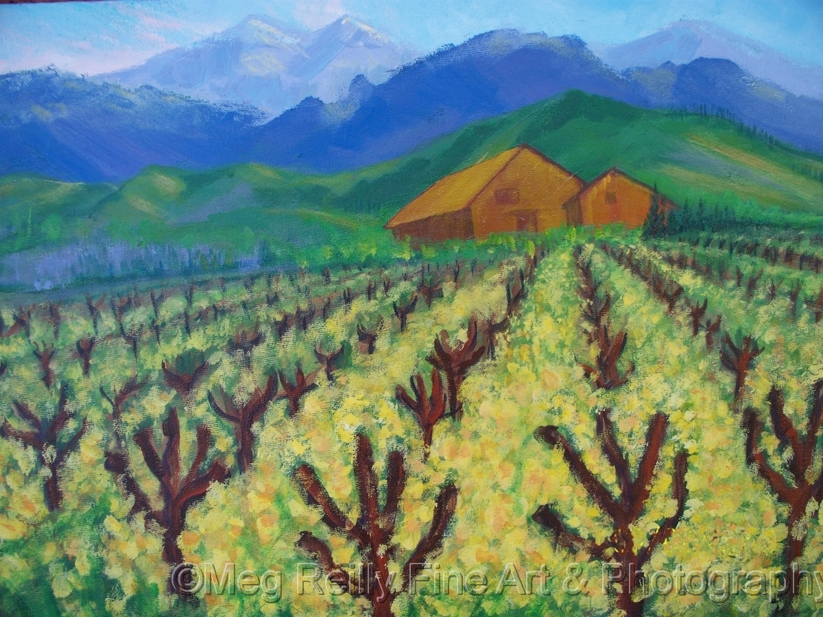 Vinyard & Barn in Mustard (large view)