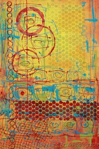 circles, abstract, mono print, print, original art,   (large view)