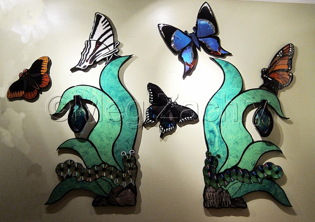 Caterpillars turning into butterflies. Large, for Le Bonheur Children's Hospital's permanent collection. (large view)