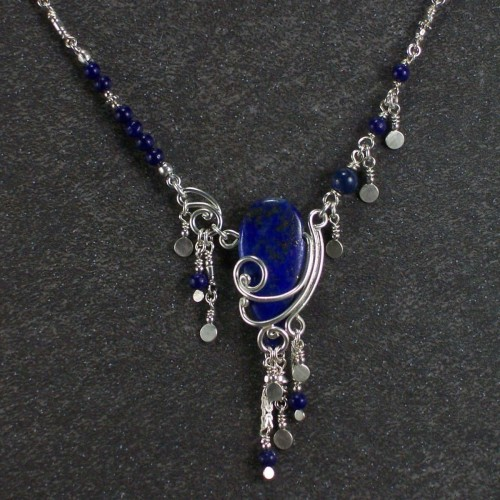 Sterling silver and lapis necklace (large view)