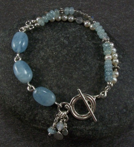 Aquamarine, pearl, and sterling bracelet