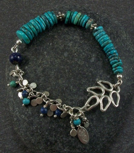 Turquoise, lapis, and silver bracelet (large view)