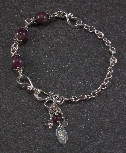 Sterling silver and Indian ruby bracelet (large view)