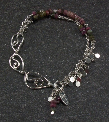 Tourmaline and leaf links bracelet (large view)
