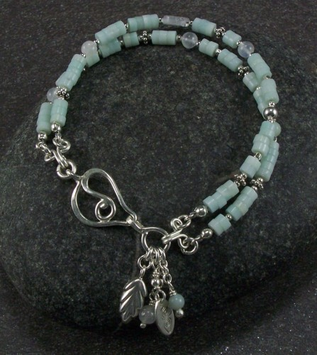 Amazonite  and silver bracelet (large view)
