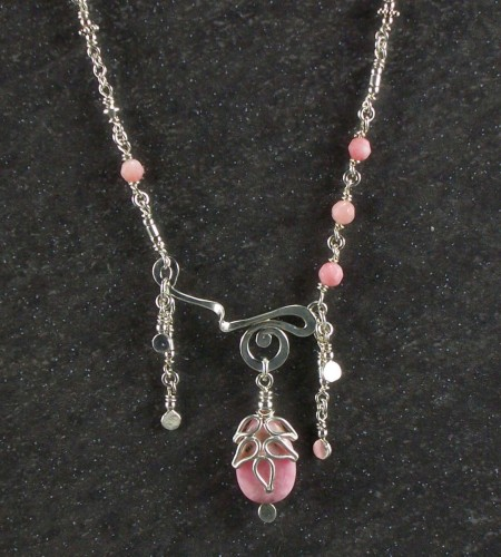 Rhodochrosite and silver swirl necklace (large view)