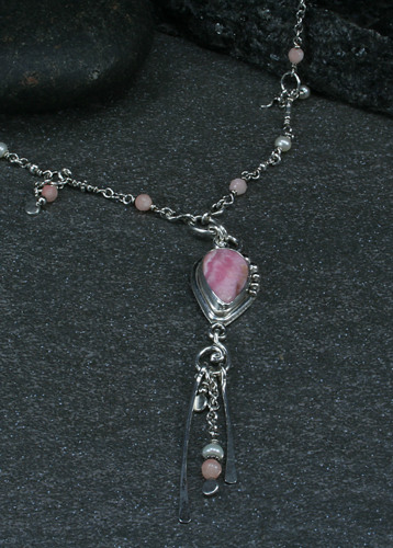 Rhodochrosite long necklace (large view)