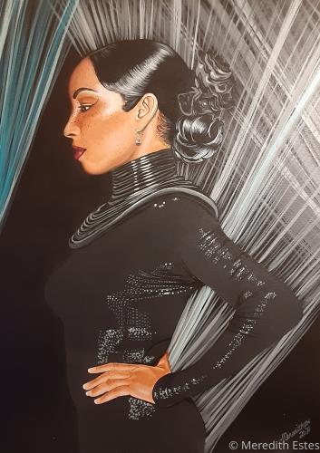 "Sade Original portrait Acrylic painting 18"" x 24"" by Meredith Estes"