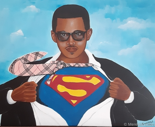 "CK Superman Original acrylic painting 16"" x 20"" by Meredith Estes"