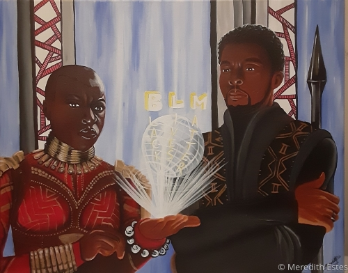 Black Panther BLM Black Lives Matter Original ACRYLIC painting on canvas 16