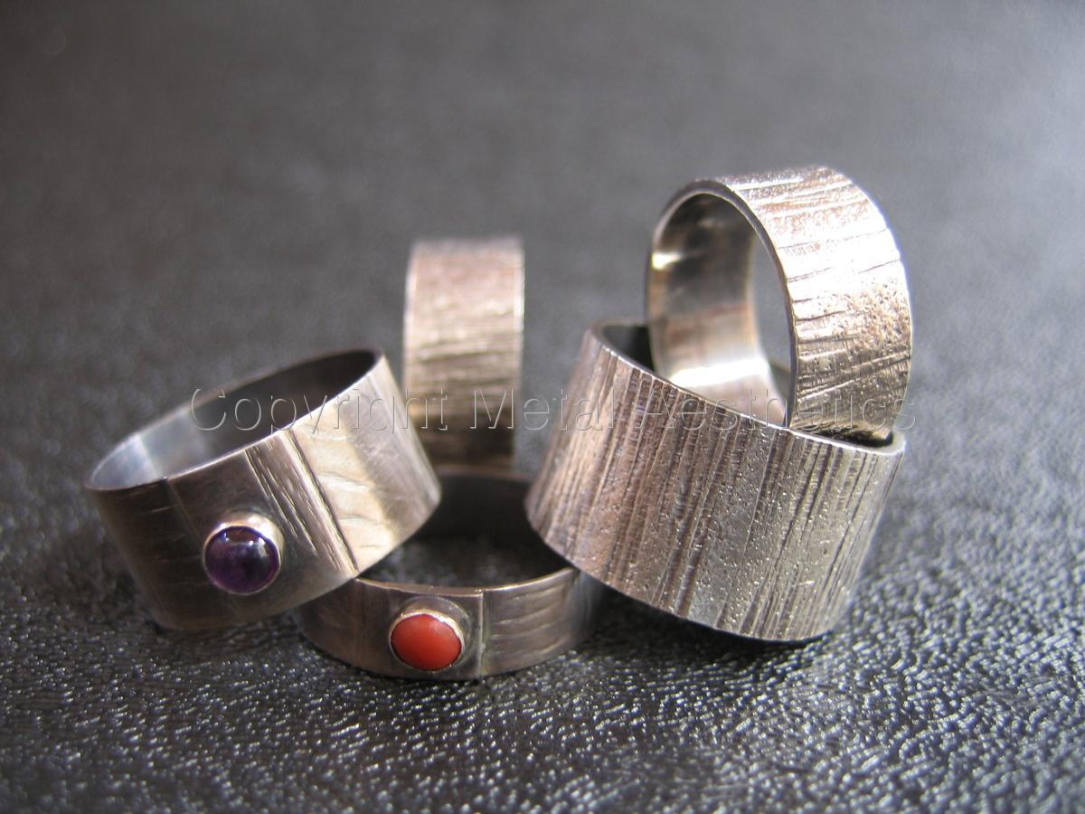 TEXTURED SILVER RINGS (large view)
