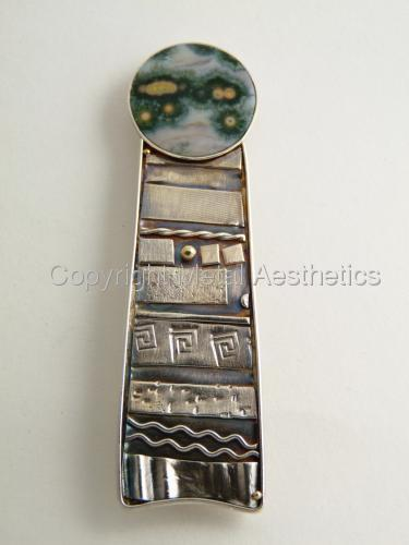 FUSED SILVER PIN WITH JASPER by Metal Aesthetics