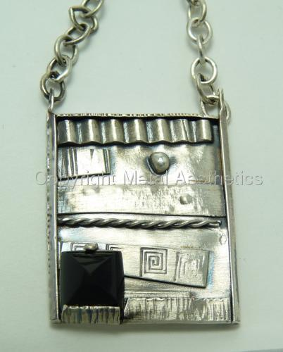 FUSED SILVER PENDANT WITH ONYX