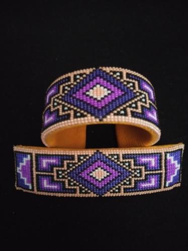 Bracelet-Barrette Set by Marvin Gabaldon Bead Artist