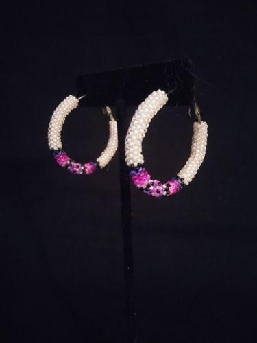 Small Peyote Stitched Hoop Earrings by Marvin Gabaldon Bead Artist