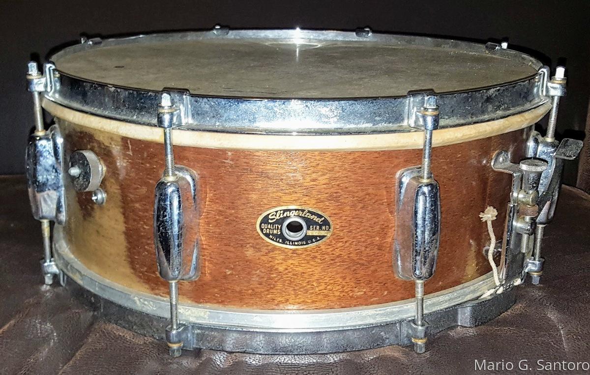 Vintage 1962 Slingerland mahogany snare ~before restoration  (large view)