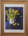 Yellow Tulips on Blue (Gouache) (thumbnail)