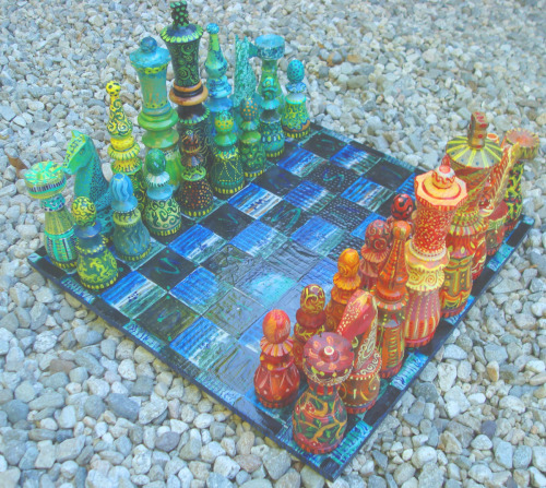 Chess Set in Warm and Cool Colors