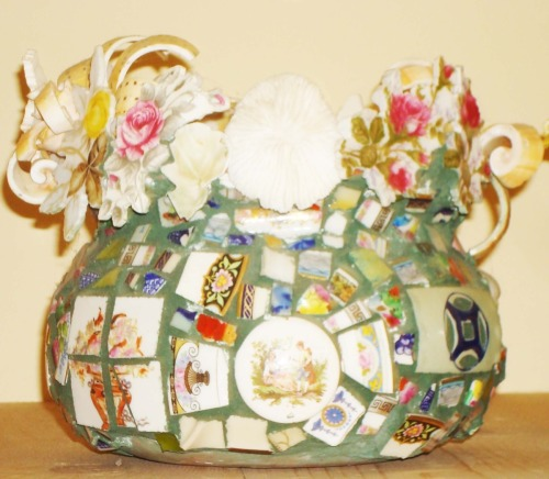 Mosaic Pot with Shell Flowers