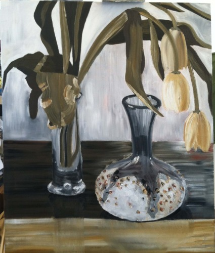 Yellow Tulips and Blue Glass Vase