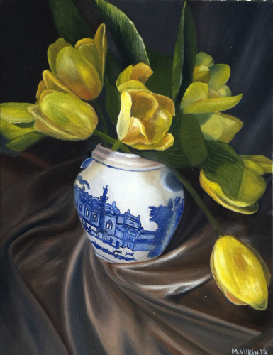 Tulips in a Blue and White Vase