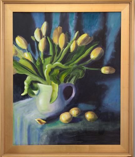 Yellow Tulips on Blue