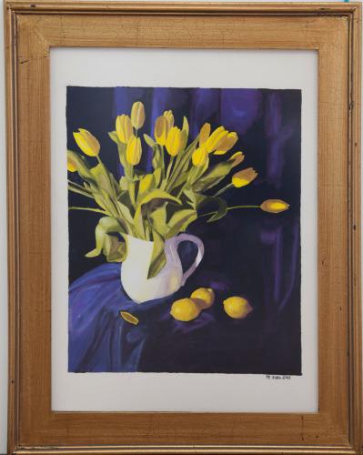 Yellow Tulips on Blue (Gouache)