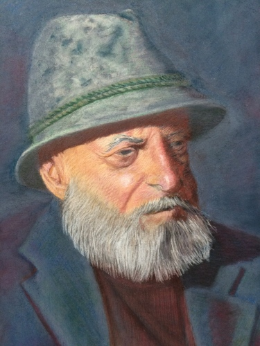 Pastel of Old man