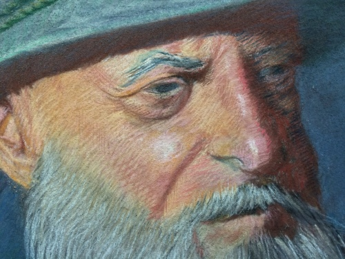 Pastel of Old Man detail