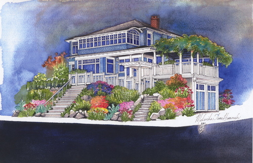 heirloom watercolor, famous Seattle home (large view)