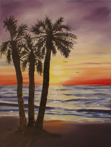 Sunset Palms by Topsail Island Art, by Mike Hartford